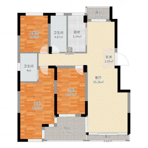 南山巴黎印象3室1厅2卫1厨120.00㎡户型图
