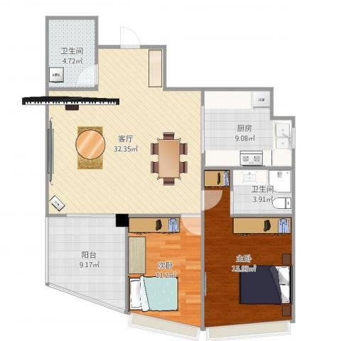 丰泽华庭2室1厅2卫1厨108.00㎡户型图