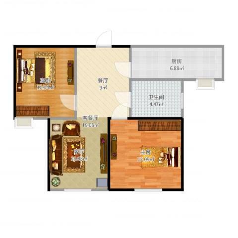 理工帝湖湾2室2厅1卫1厨66.00㎡户型图