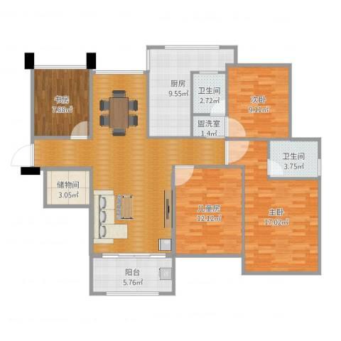 首开太湖一号4室2厅2卫1厨132.00㎡户型图
