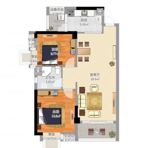 奥园金域2室2厅1卫1厨84.00㎡户型图