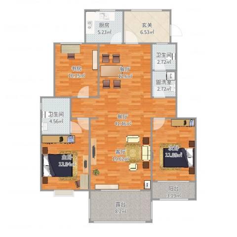 卓达明郡3室3厅2卫1厨137.00㎡户型图