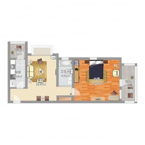 远中风华园1室1厅1卫1厨74.00㎡户型图