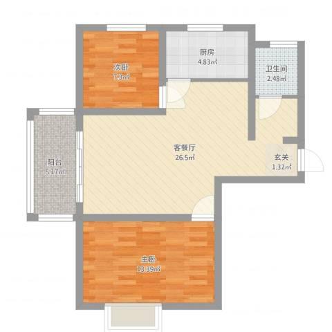 麒麟半岛2室2厅1卫1厨75.00㎡户型图