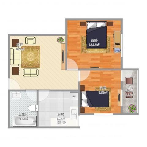 德裕家园2室1厅1卫1厨72.00㎡户型图