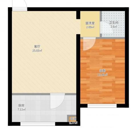 金川新城1室1厅1卫1厨67.00㎡户型图