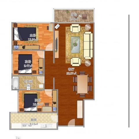 鹭江新城二期3室1厅1卫1厨130.00㎡户型图