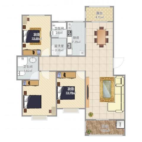 元氏天山水榭花都2室3厅2卫1厨152.00㎡户型图