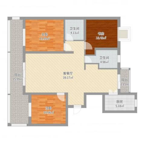 爵仕悦恒大国际公寓3室2厅2卫1厨133.00㎡户型图
