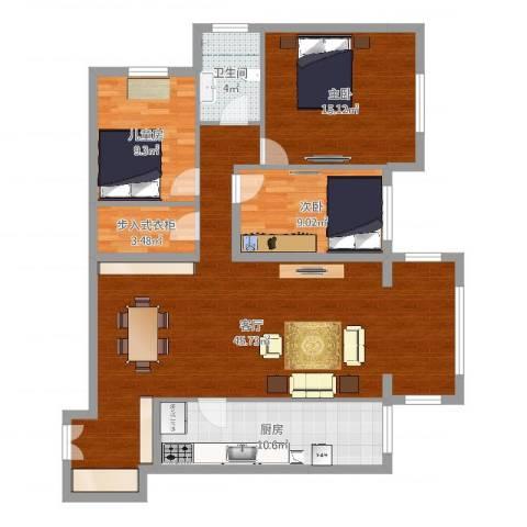 K2・海棠湾3室1厅1卫1厨122.00㎡户型图