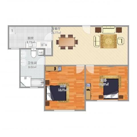 公园30002室2厅1卫1厨96.00㎡户型图