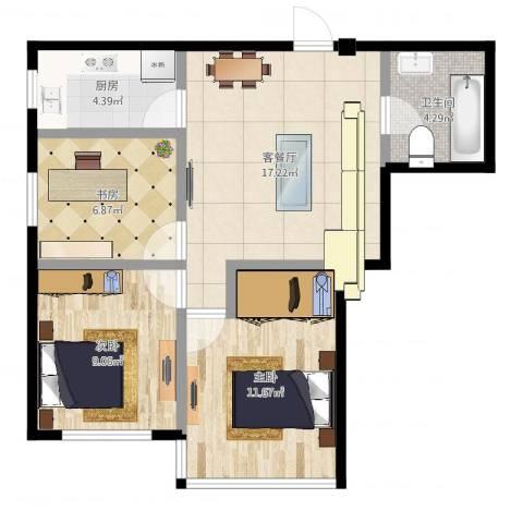 万丰・王子公寓3室2厅1卫1厨76.00㎡户型图