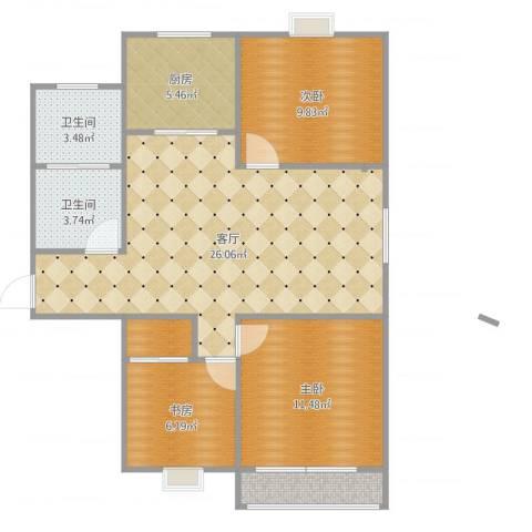 浦口区樱花苑3室1厅2卫1厨96.00㎡户型图