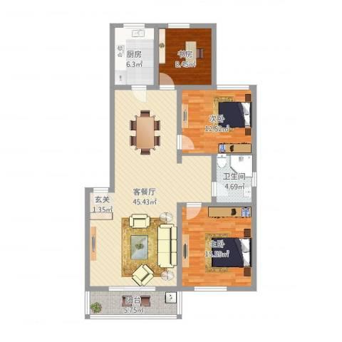 名仕嘉景苑3室2厅1卫1厨139.00㎡户型图