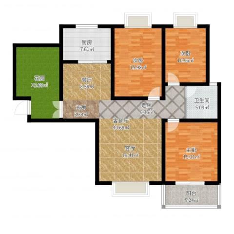 南阳桂花城御景3室2厅1卫1厨143.00㎡户型图
