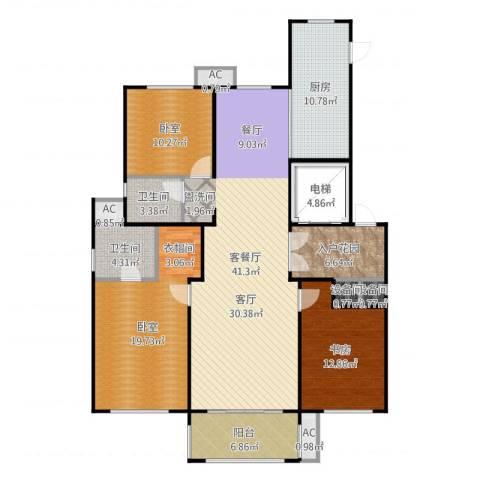 凡尔赛颐阁二期1室2厅2卫1厨156.00㎡户型图