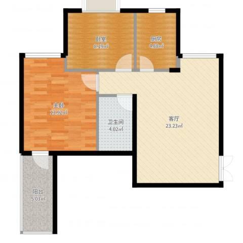 锦绣家园1室1厅1卫1厨74.00㎡户型图