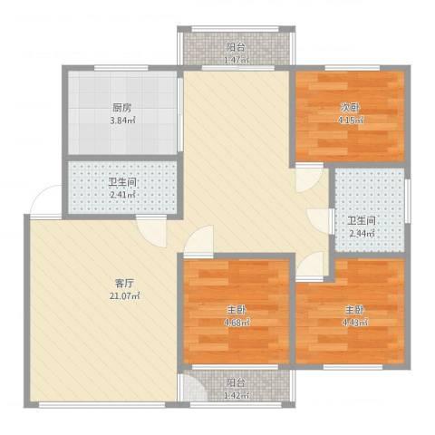 金寓花园三期3室1厅2卫1厨64.00㎡户型图