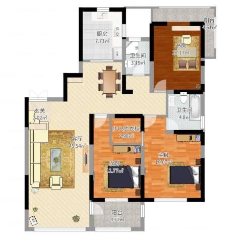 苏建名都城3室1厅2卫1厨143.00㎡户型图