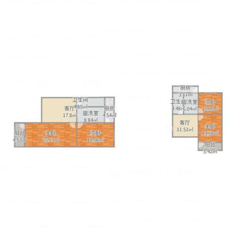 合作小区4室6厅2卫2厨183.00㎡户型图