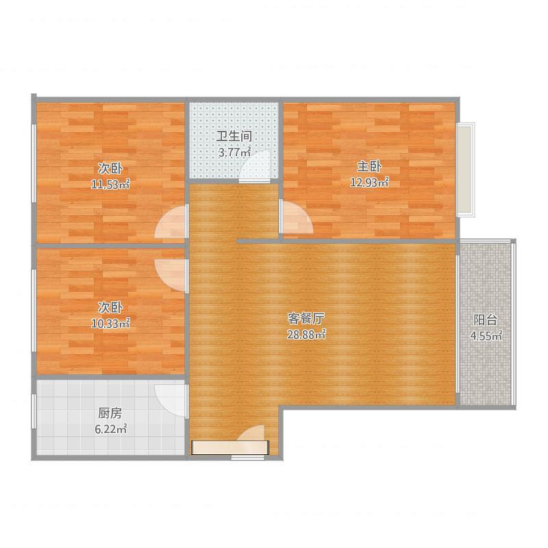 山安家园三室两厅一卫111,62、112.60m
