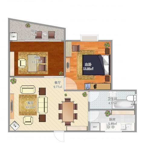 丽都成品2室2厅1卫1厨84.00㎡户型图