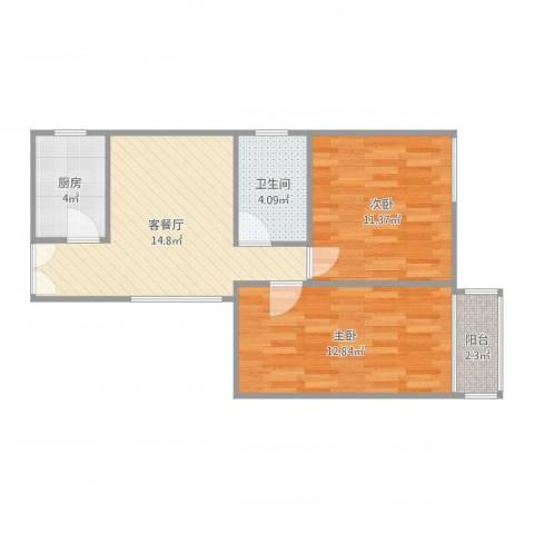 华侨乐园10042室2厅1卫1厨62.00㎡户型图