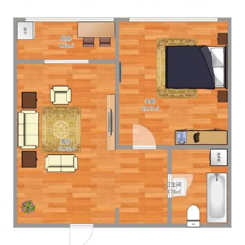 春江花月B区1室1厅1卫1厨62.00㎡户型图