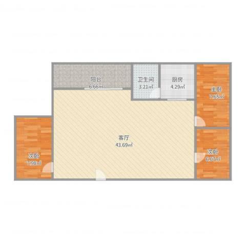 海棠村3室1厅1卫1厨106.00㎡户型图