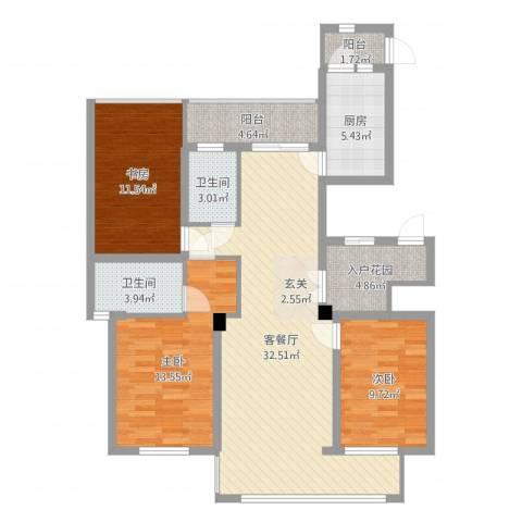 浙建・太和丽都三期3室2厅2卫1厨90.91㎡户型图