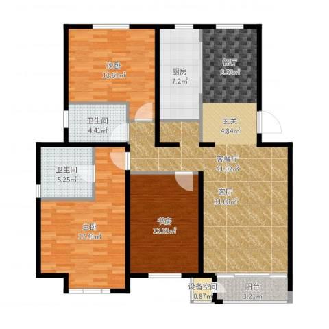 顶秀美泉小镇3室2厅2卫1厨133.00㎡户型图