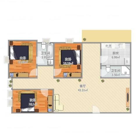 荣景花园3室1厅2卫1厨111.00㎡户型图