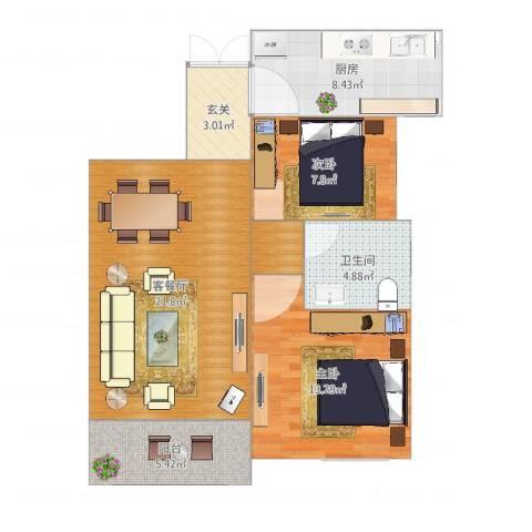 奥克斯盛世年华2室2厅1卫1厨83.00㎡户型图