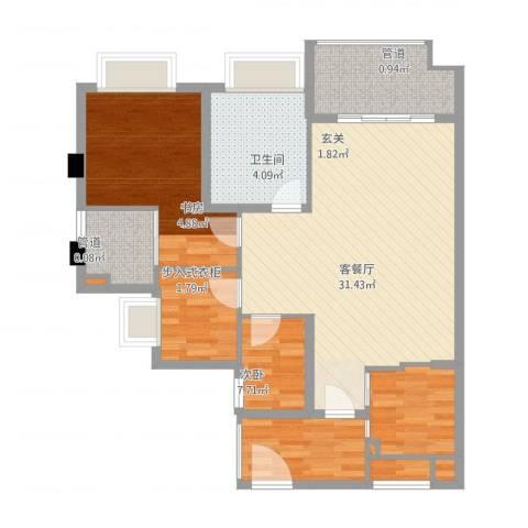 联发滨海名居3室2厅2卫1厨103.00㎡户型图