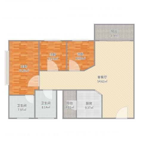 同济广场3室2厅2卫1厨182.00㎡户型图