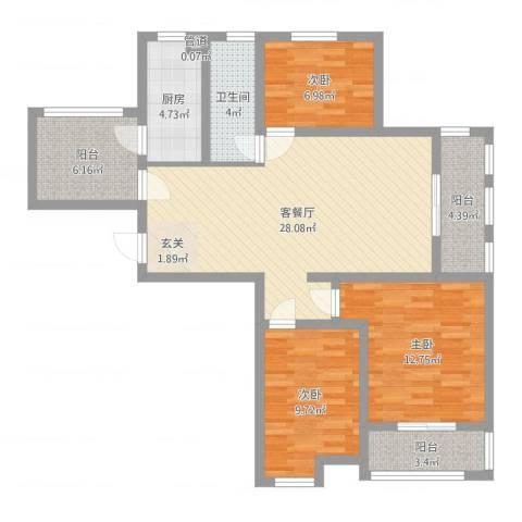 水岸观邸3室2厅1卫1厨100.00㎡户型图