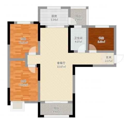 天明城3室2厅1卫1厨98.00㎡户型图