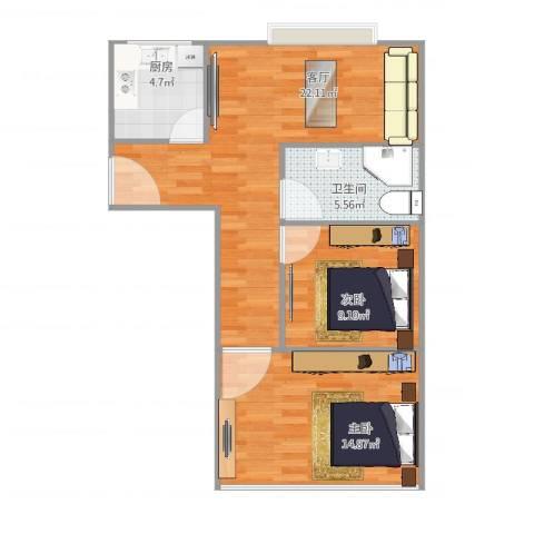 紫堤坊2室1厅1卫1厨76.00㎡户型图
