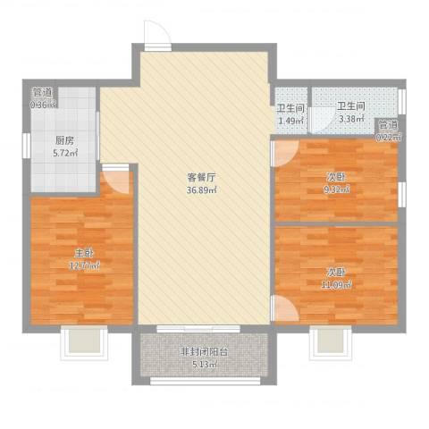 东盛・公园1号3室2厅1卫1厨106.00㎡户型图