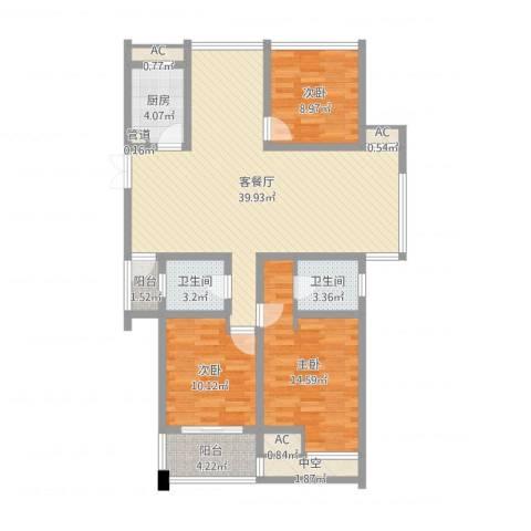 青山湾3室2厅2卫1厨118.00㎡户型图