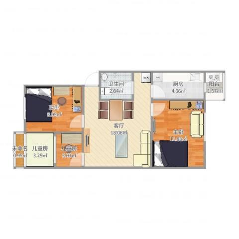 海淀温泉45号院4室1厅1卫1厨76.00㎡户型图