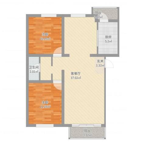 健康阳光城2室2厅1卫1厨101.00㎡户型图