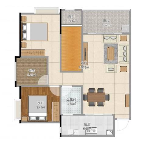 光华可乐小镇2室1厅1卫1厨94.00㎡户型图