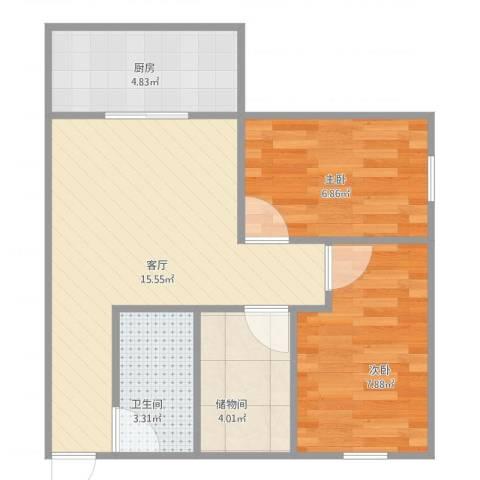 金海广场2室1厅1卫1厨58.00㎡户型图