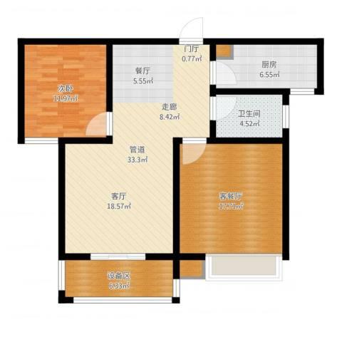 天骄华府1室2厅1卫1厨102.00㎡户型图