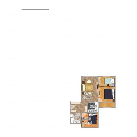 广渠门外南街1室1厅1卫1厨66.00㎡户型图