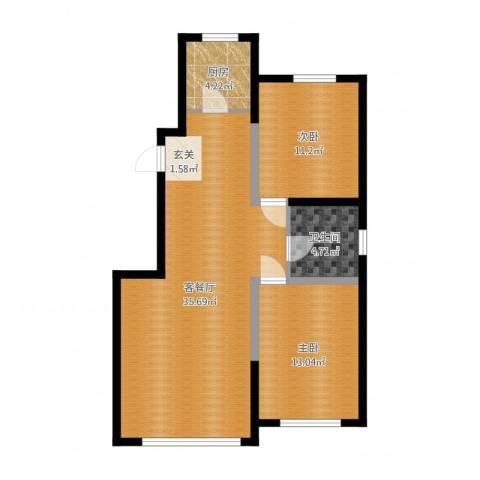 景康名苑2室2厅1卫1厨86.00㎡户型图