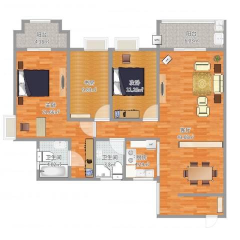 三亚同心家园3室1厅2卫1厨135.00㎡户型图