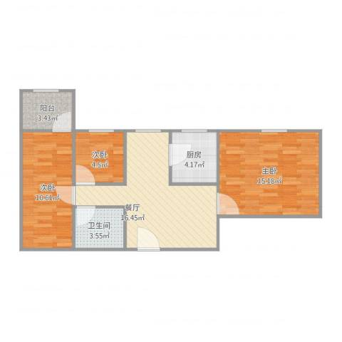 东苑小区3室1厅1卫1厨79.00㎡户型图