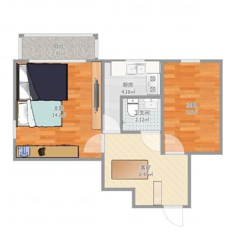 老山西里2室1厅1卫1厨51.00㎡户型图
